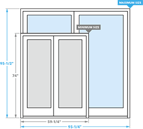 size chart for architect series sliding patio doors